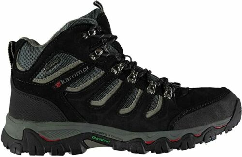 Mens Karrimor Mount Mid Walking Boots Black Lace Up Waterproof UK 9,10,12