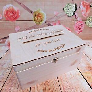 Homedecoart Lockable Natural Wooden Box Wedding Guests Wish Post Box