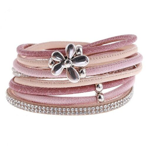 FAUX LEATHER SPARKLY PINK WRAP BRACELET WITH FLOWER AND MAGNETIC CLASP