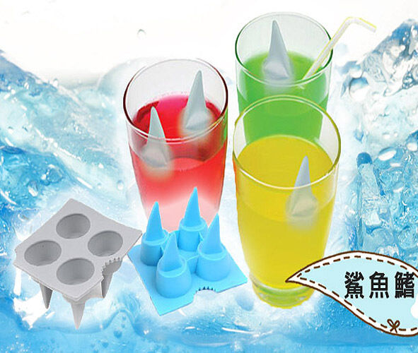 Shark Fin Rubber Shooters Ice 4-Cube Shot Glass Freeze Mold Maker Tray Party