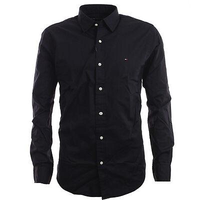Tommy Hilfiger Premium Langarm Business Hemd Shirt schwarz Size S-XXL