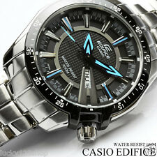 EF-130D-1A2 Black Blue Edifice Casio Men's Watch Day Date 100M Stainless Steel