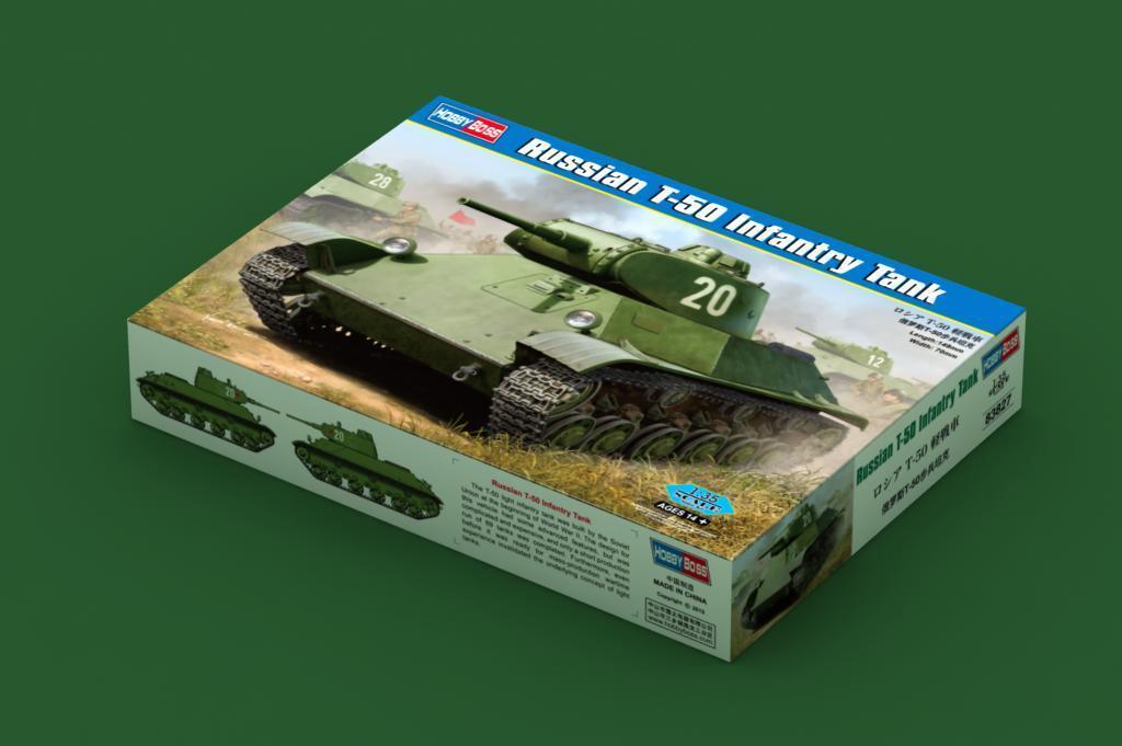 83827 Hobbyboss Russian T-50 Infantry Tank Plastic 1 35 Model Kit Armored Car