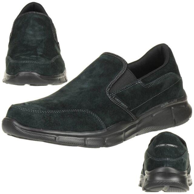 Skechers Equalizer Mind Game Men s Slippers Moccasin Slip On Leather Black 08e63a6f69