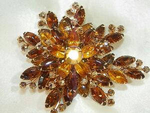 HUGE-Vintage-50-039-s-Amber-Prong-Set-Rhinestone-Navette-Flower-Brooch-61j7