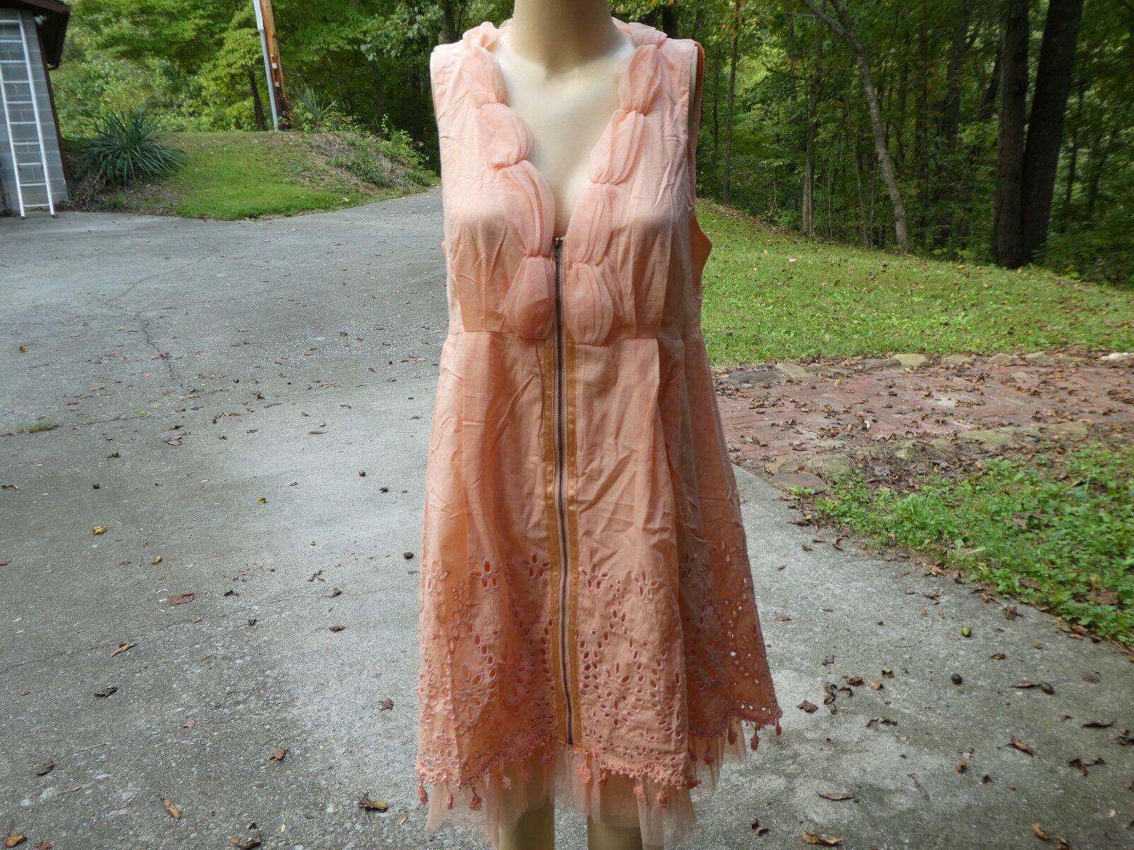 RYU Peach Embellished Sleeveless DressCotton PolyesterMEyelet NettingN W T