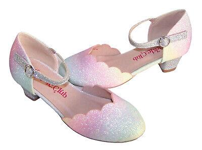 Girls Childrens Rainbow Silver Glitter