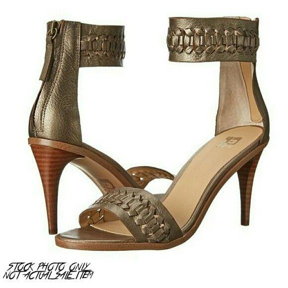 Joe's Jeans pax 7.5 Taupe Bronze Ankle Strap High Heel Sandals metallic EUC