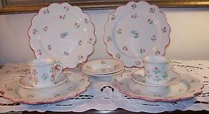 Taste-Setter-Sigma-Scalloped-Edge-Rose-Pattern-10pc-Tea-Dessert-Set-EUC
