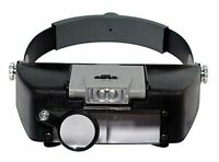 Head Magnifier Led Light Headlamp Adjustable Strap Loupe Lens Magnifying Tools