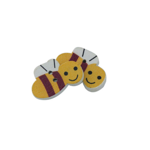 50Pcs 2 Holes WOODEN BEE BUTTONS for Card Making Wood Craft Sewing Scrapbook
