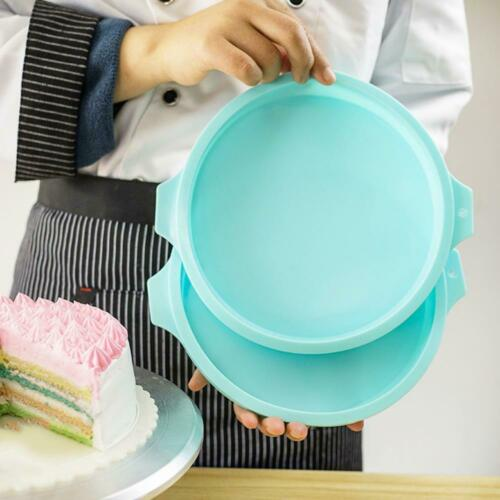 Details about  /4pcs 8 Inch Non-stick Silicone Round Rainbow Cake Mold Tool Pan Pizza J9T7