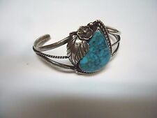 Vintage Native American Sterling Silver & Turquoise 3 Tier Cuff Bracelet