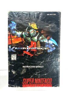 Killer Instinct Super Nintendo Instruction Manual Booklet Book Only NO SNES GAME