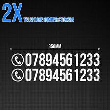 Custom phone number stickers - Car / Van / Shop, vinyl decals x2