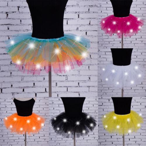 colorazione Dress corta verde Stage muilt bianco rosa gonna Light arancio Mini Tutu Nero Girls Dancewear Uk Up Dance Led giallo blu Women YHpPqPR