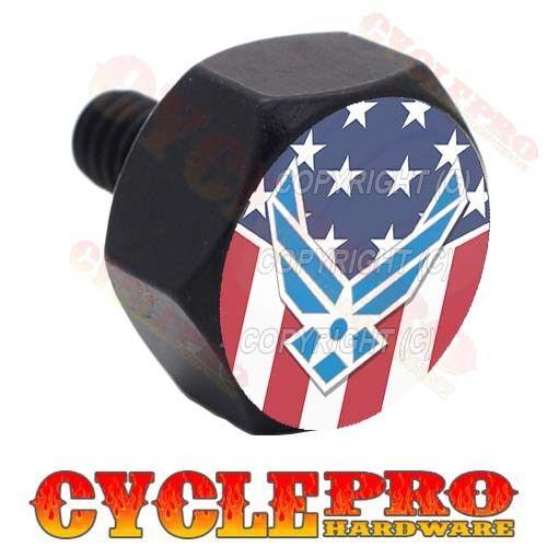 Black Hex USAF AIR FORCE US FLAG Billet Aluminum Fender Seat Bolt For Harley