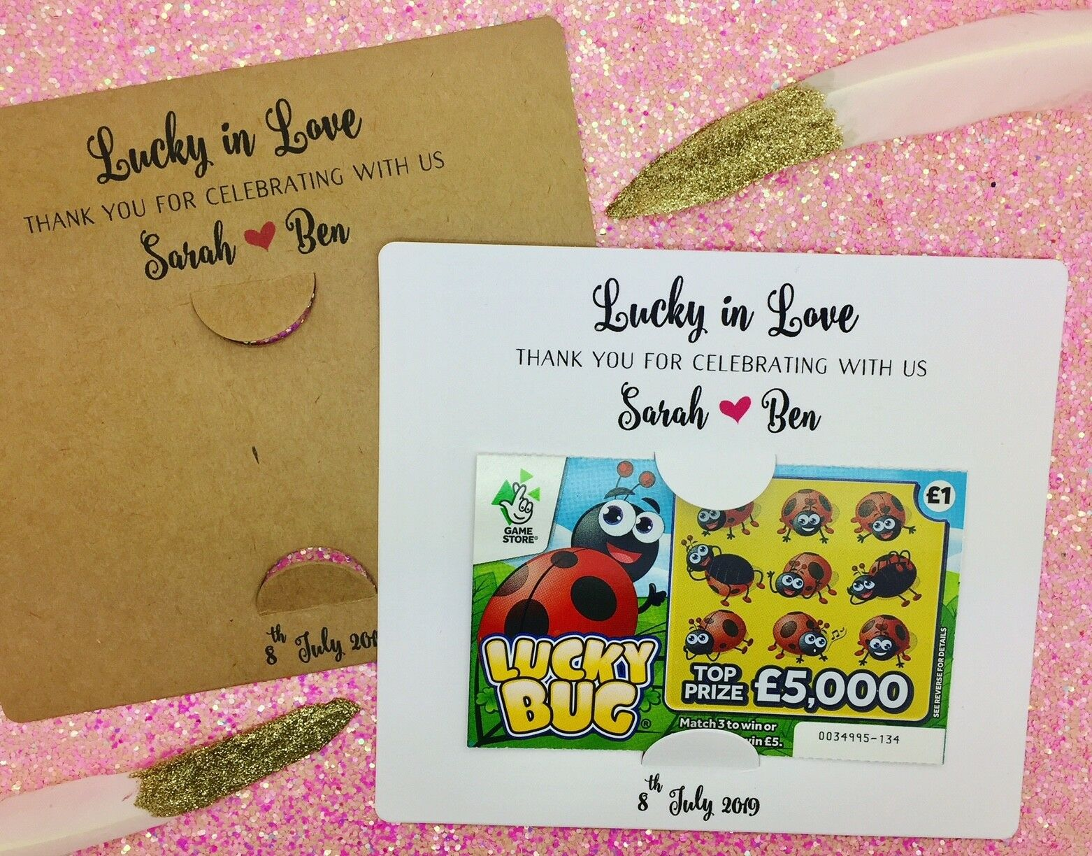Scratch Card Holders, loto Ticket Holder, in Wedding Favours, Lucky in Holder,   84032e