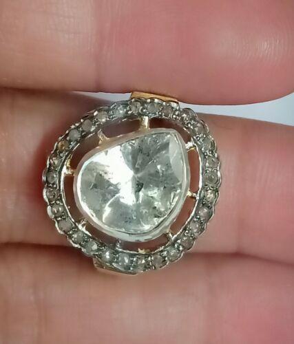 Natural Diamond Handmade Ring 925 Sterling Silver uncut Polki Victorian Jewelry