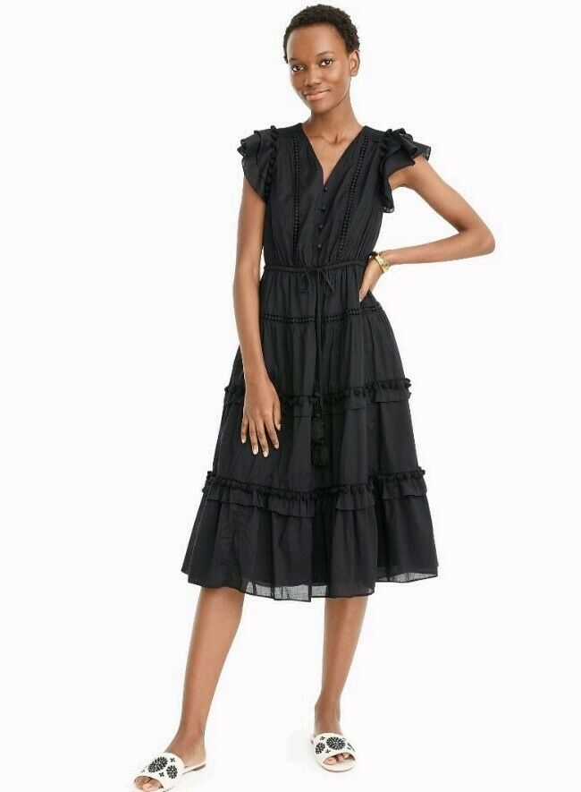 NWT J Crew Point Sur Flutter-Sleeve Pom-Pom Midi Dress Cotton Voile Sz 4 schwarz