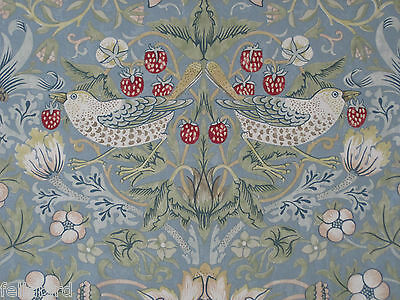 "WILLIAM MORRIS CURTAIN FABRIC /""Strawberry Thief/"" 3.35 METRES CHOCOLATE /& SLATE"