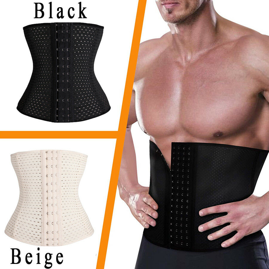 590ddb27be Details about Mens Waist Trainer Cincher Fajas Corset Gym Sport Women Shaper  Slim Belt Workout