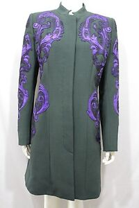 Andrew-GN-donna-verde-lana-cappotto-giacca-Cocktail-Blu-metallico-floreale-10