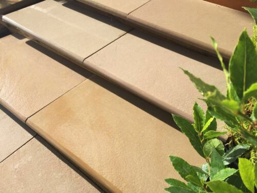 Sawn Raj Green Bull Nose Steps//Wall Coping 1000x350x30mm Indian Sandstone Paving