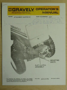 gravely attachment adapter kit operator manual 22477 ebay