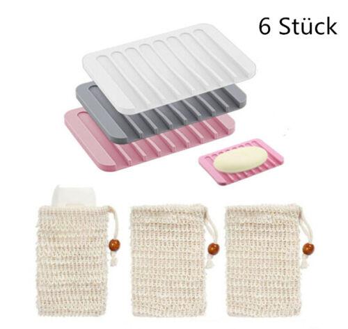 3 Stück Silikon Seifenschale Seifenigel Seifenhalter mit 3x Sisal-Seifenbeutel