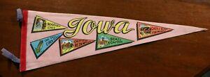 Vintage 60s 70s Iowa Pennant Souvenir Grotto of Redemption Niagra Cave Flag