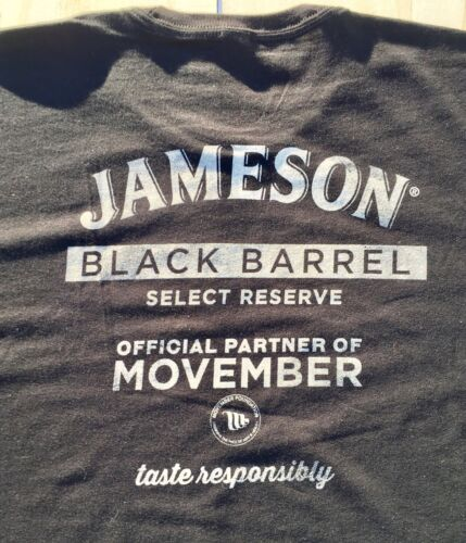 "Jameson Black Barrel Whiskey /""Long Live the Moustache/"" men/'s t-shirt Black L New"