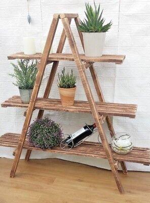 Rustic 3 Tier Wooden Ladder Shelf Shelves Bookcase Plant Flower Shelving Ebay