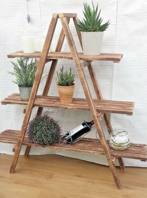 official photos f2fb2 5aa2f Rustic 3 Tier Wooden Ladder Shelf Shelves Bookcase Plant Flower Shelving