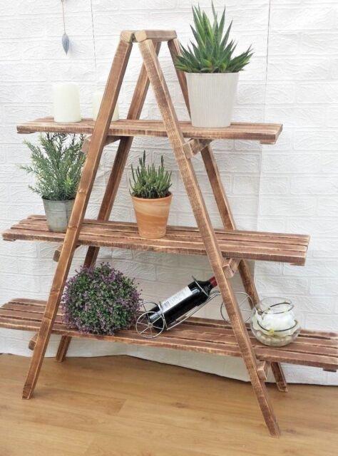 Rustic 3 Tier Wooden Ladder Shelf Shelves Bookcase Plant Flower Shelving