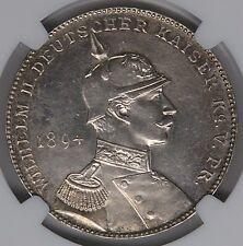 Germany 1894 Wilhelm & Bismarck Silver Medal NGC MS61