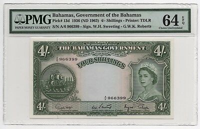 1953 Active Government Of The Bahamas 4 Shillings Nd Pick#13d Pmg 64epq Refreshment