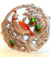 JJ VINTAGE CHRISTMAS PARTRIDGE IN A PEAR TREE PEWTER BROOCH PIN