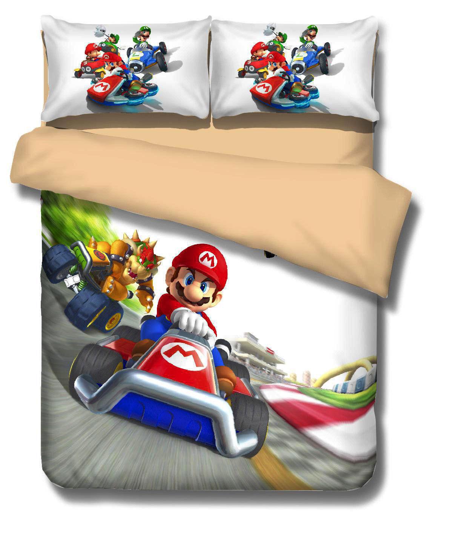 3D Mario Kart Kids Bedding Set Bowser Koopa Duvet Cover Quilt Cover Pillowcase