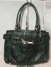 Coach Hampton Black Leather Tassel Tote Carryall Bag F08A70