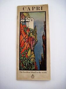 """Vintage Travel Brochure for """"The Island of Capri"""" w/ Art Deco Picture on Cover *"""