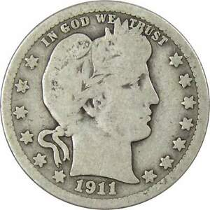 1911 Barber Quarter AG About Good 90% Silver 25c US Type Coin Collectible