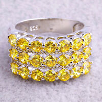Delicate Jewelry Round Cut Citrine Gemstone Silver Ring Size N Free Shipping