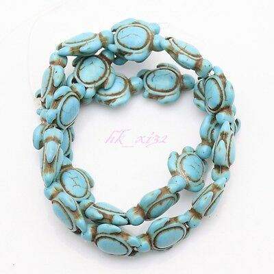 16'' Turquoise Howlite Carved Turtle Spacer Beads Findings 17x14mm