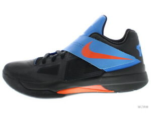 d6ba5c15abb NIKE ZOOM KD IV 473679-001 black team orange-photo blue Size 9.5