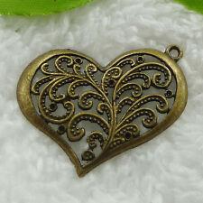 Free Ship 44 pcs bronze plated heart pendant 37x32mm #853