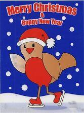Christmas Cling On Vinyl Car Window Sticker - Robin cc2