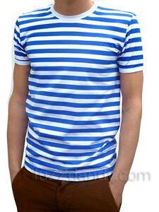 637e8a376eaa0d Das Bild wird geladen Herren-Gestreift-T-Shirt-Blau-Weiss-Indie-Mod-