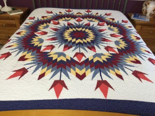 Queen size machine pieced Patchwork quilt #J-129