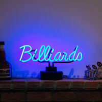 Real Neon Table Lamp Pool Hall Sign (not Led) Game Room Billiards Blue Sculpture